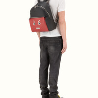 FENDI | BACKPACK in black and red Roman leather