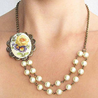Cameo Necklace Pearl Jewelry Flower Necklace Vintage Style Cameo Jewelry Ivory Necklace