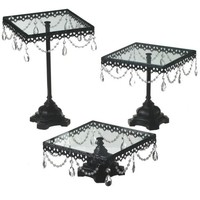 Jeweled Cake Stands Black Set of 3 Wedding and Event Tabletop Decor