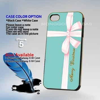 Tiffany & Co Blue Merry christmas Hard Plastic iPhone 5 Case Cover