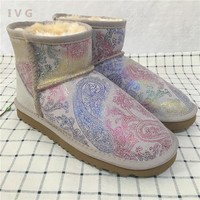2017 Women's winter boots Australia Classic mini Camouflage pattern ugs Snow Boots Warm Leather Ankle Boots Brand IVG size 4-13