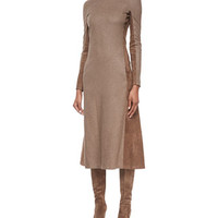 Ralph Lauren Collection Long-Sleeve Suede Paneled Midi Dress
