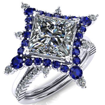 Thalim Princess/Square Moissanite 4-Point Star Blue Sapphire and Diamond Halo Ring ver. 2