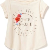 Rosette-Applique Graphic Tee for Toddler Girls   Old Navy