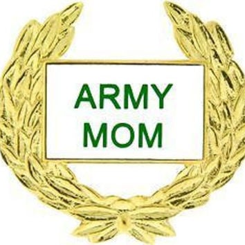 USA Army Mom Wreath Military Hat Lapel Pin