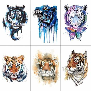 TCOOL Tiger Temporary Watercolor Tattoo Sticker Waterproof Women Fashion Fake Body Art Arm Tattoos 9.8X6cm Kids Hand Tatoo A-044