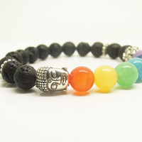 1PC Healing Crystal Natural Gemstone Round Beaded Stretch Colorfull Chakra Lava Buddha Lotus Flower Bracelet 8mm Best Friendship Bracelet