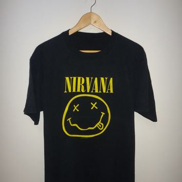 New Year Sale NIRVANA 1992 T Shirt Used Kurt Cobain Grunge Seattle Rock Tee