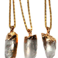 Gold Plated Quartz Pendants