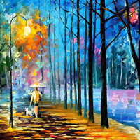 "Walking My Dog 2 —  Oil Painting On Canvas By Leonid Afremov. 30""x24"""