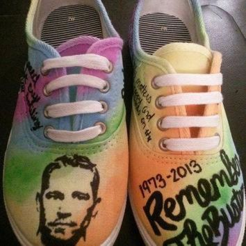 VONE05D paul walker tribute hand painted custom made shoes fast and furious rip converse vans