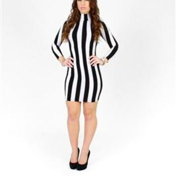 Celebrity Inspired Tricot Striped Bodycon Dress