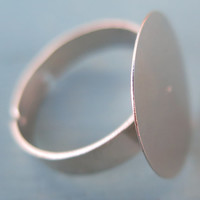 6PCS - Silver Toned Ring Blanks - Adjustable - 20mm Pad