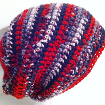 Crochet Slouchy Hat, Baggy Style, Mens Red Hat Beanie, Unisex Crochet Hat Beanie - Ready to ship