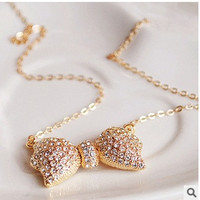 vintage jewelry accessories fashion elegant full rhinestone crystal bow necklaces for women = 1669444164