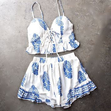 festival shop - boho print two piece set - white/blue