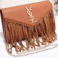 YSL Yves Saint LaurentWomen Shopping Leather Metal Chain Crossbody Satchel Shoulder Bag