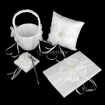 White Lace Bow Ring Pillow Flower Girl Basket Guest Book and Pen Wedding Set