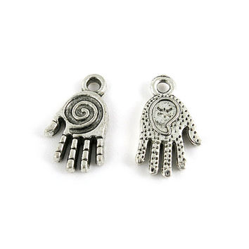 4x Silver Antique breloques fabrication bijoux Fermoir Jewelry Findings Charms 5-13117 Spiral Hand