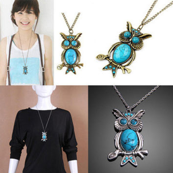 New Women Vintage Turquoise Rhinestone OWL Pendant Long Chain Necklace