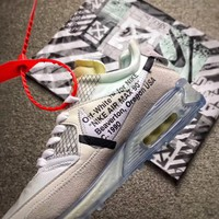 Best Online Sale OFF-WHITE x Nike Air Max 90 Ice 10X Men Shoes AA7293-100