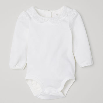 Bodysuit with Lace Collar - White - Kids | H&M US