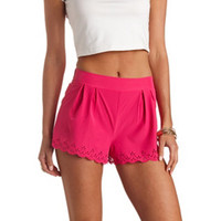 LASER-CUT SCALLOPED HIGH-WAISTED SHORTS