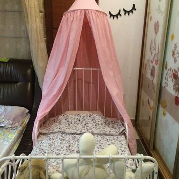 Pink Cotton Canopy Bed Netting Mosquito Bedding Net Bed Valance Baby Kids Reading Play Tents