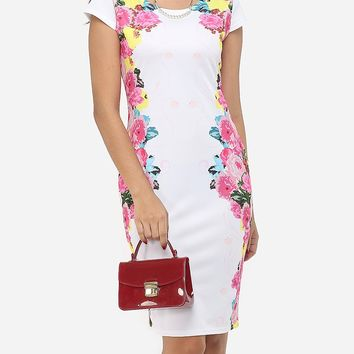 Streetstyle  Casual Floral Printed Delicate Round Neck Bodycon-dress