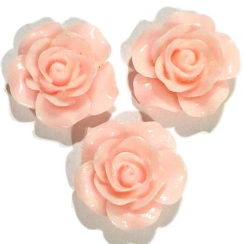 Light pink flower resin cabochon 18mm / 1-5 pieces