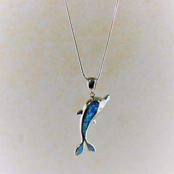Dolphin Blue Fire Opal Pendant Necklace in Sterling Silver