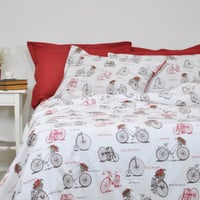 Old Bicycle Duvet Cover Set in Full Queen King Size, Sepia Brown, Burgundy Red, White, Vintage Bike Print Bedding, Duvet Cover & Pillowcases