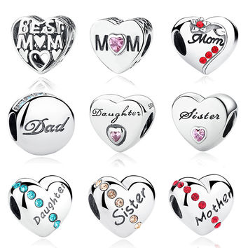 925 Sterling Silver Mother Mom Dad Daughter Sister Beads Fit Pandora Original  Charm Bracelet