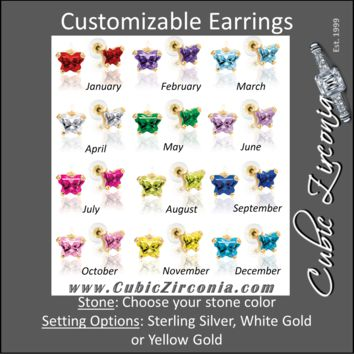 Cubic Zirconia Earrings-*Clearance* Customizable Butterfly Shaped CZ Birthstone Stud Earring Set