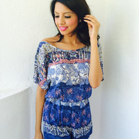 Woven In Your Fabric Playsuit- Blue