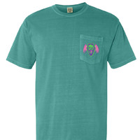 Flaming 8's Pocket Tee - Seafoam