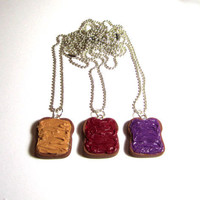 Peanut Butter And Jelly Bestfriend Necklaces - Set Of 3