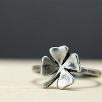 Lucky Four Leaf Clover Sterling Silver Ring by ThirtySixTen