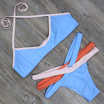Design Dyes Bandage Bikini Set Bathing Suit For Women P72001