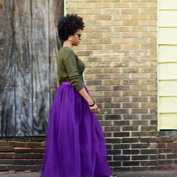 Tulle Skirt  | Purple Maxi Tutu Cute Skirt,  Adult Tutu, Tulle Maxi Skirt, Full length Tulle Skirt Long Tulle Skirt