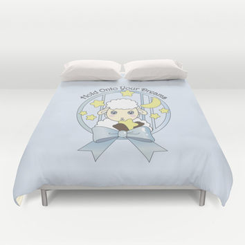 Hold Onto Your Dreams - Cute Lamb Duvet Cover for Kids
