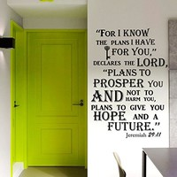 Wall Decal Vinyl Sticker Decals Art Home Decor Murals Quote Decal Quote Jeremiah 29:11 Bible Verse Decals For I know the plans I have for you... KV38