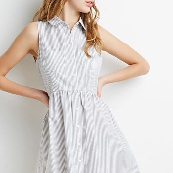 Striped Button-Down Dress