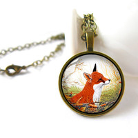 Retro Style Handmade Glass Dome Necklace, Fox, C-119