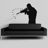 Wall Decal Vinyl Sticker Decals Art Decor Design Bedroom Dorm Office Nersery automatic sniper special forces shooter ak 47 rifle gun police (R1463)