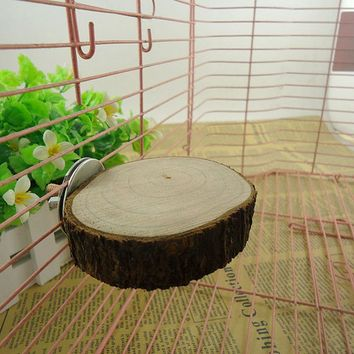 Nature Wood Bird Cage Accessories Wooen Parrot Perches Stand Platform Squirrel Hamster Pet Parakeet Budgie Hanging Toy 5 Size