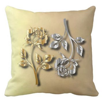 Two Golden And Silver Roses With Shadows Throw Pillow