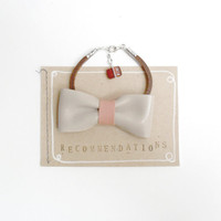 Sweet bow bracelet - nude leather bow with dust pink detail