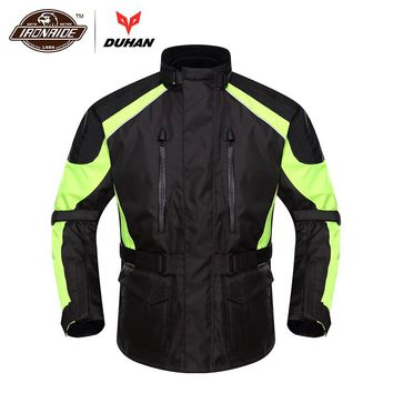 DUHAN Motorcycle Jacket Moto Men Autumn Winter Waterproof Cold-proof Rain Coat Clothing Touring Motorbike Jacket Protective Gear