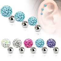 Cz Gem Beads 16g Stainless Steel Bar Tragus Cartilage Ear Studs Earrings, 5mm (AQUA)